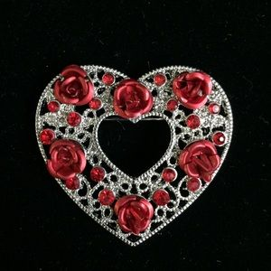 Jewelry - Filigree Silver Heart w/ Red Roses (f015)
